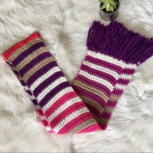 💞 Chunky Striped Tassel Pink Multi-Colored Scarf
